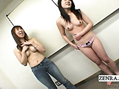 Subtitled Japanese amateurs striptease with blowjob