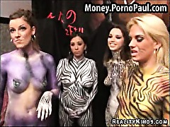 Body painted amateurs get fucked