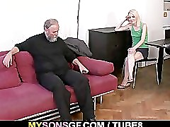 Old dad forces his sons GF suck his dick