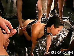 Group pissing on lusty cutie