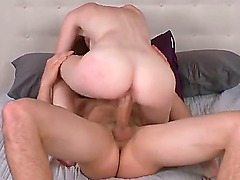 Young cute amateur redhead Deedee Lynn with big natural hooters and soft milky skin gives titjob to tall Jmac and rides on his cock like crazy to loud orgasm.