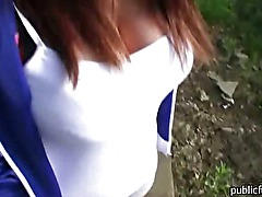 Hot amateur Czech girl flashes her big tits and pounded in public