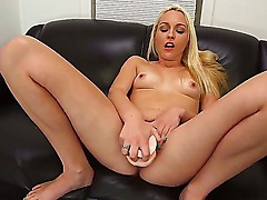 Young slender blonde amateur Ashley Stone gets naked and teases with sweet ass at the interview. She gets shaved honey pot licked good on leather couch by horny dude.