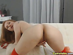 Beautiful Coed Redhead Masturbating