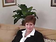 Chubby amateur redhead granny visits the casting couch and shows her big natural tits