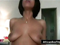 Big natural tits amateur from africa rides white dick