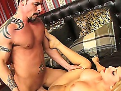 Hot strong guy with tattoos all over his body is pleasing her wonderful blonde babe Madison Ivy, licking her asshole and her cunt out. Enjoy the hot video.