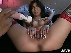 Ayamis pretty pussy is toyed by two horny guys who wants to stuff her full of meat.