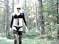 Crossdresser in forest