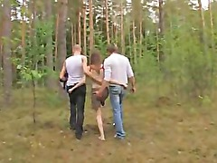 Amateur estonian threesome in the forest