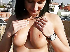 Nasty amateur jizzed on bigtits for cash