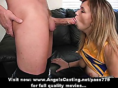 Amateur amazing redhead cheerleader with big tits doing blowjob