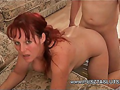 Busty hungarian MILF with natural Big Tits deepthroats and fucks the electrician