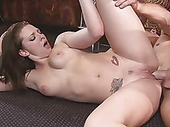 Amateur superb sexy redhead babe with natural tits doing blowjob