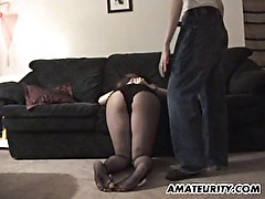 Pregnant amateur girlfriend blowjob with cum on tits